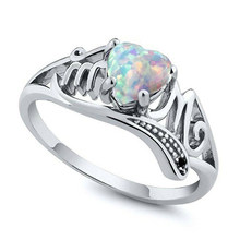 New Vintage Opal Rings For Women Silver Womens Heart Mothers Big Ring Jewelry Engagement Ring Female Wedding Rings For Mom Gifts(China)