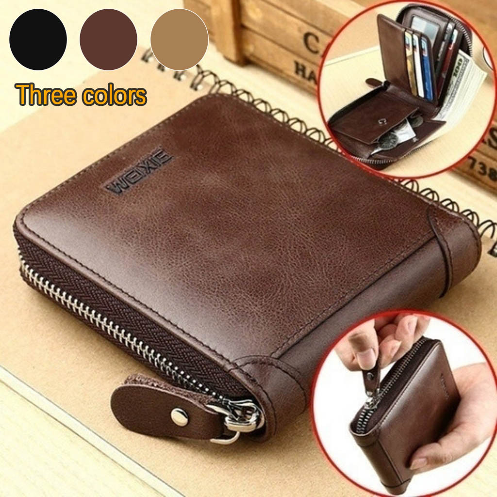 Men Wallet Purses Clutch Money-Clip Short Bifold Zipper Multifunction Small Fashion Coin-Bag title=