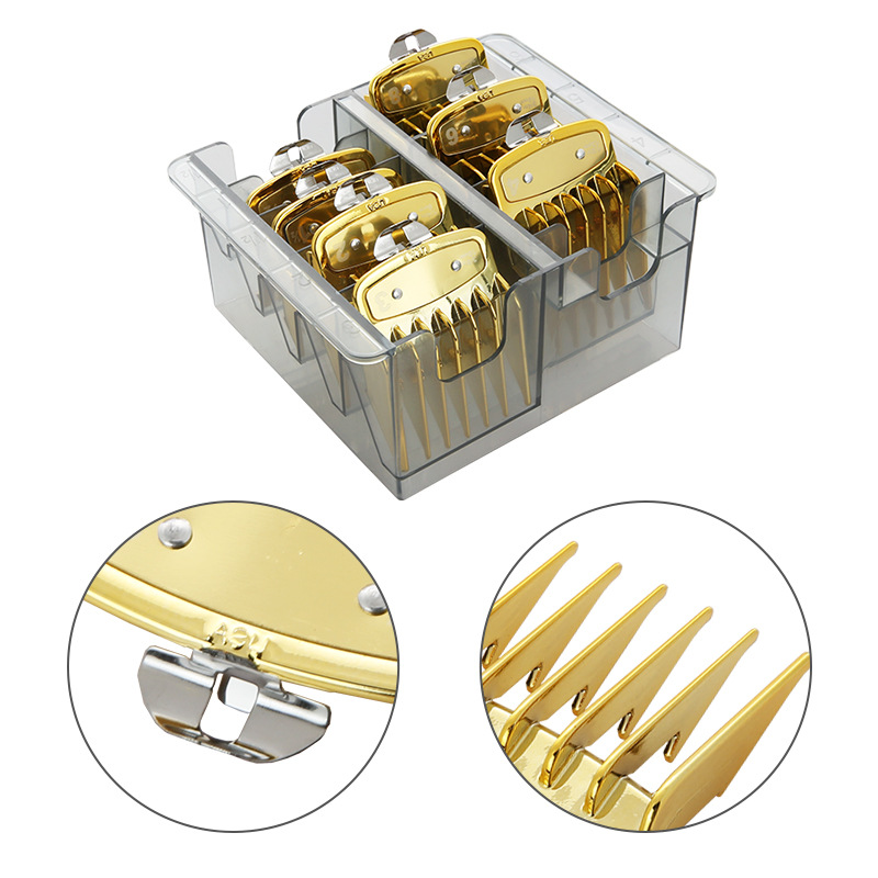 8Pcs/set Golden Hair Clipper Limit Comb With Box Pro Universal Hair Clipper Limit Comb Barber Replacement Push Shear Tool G0313