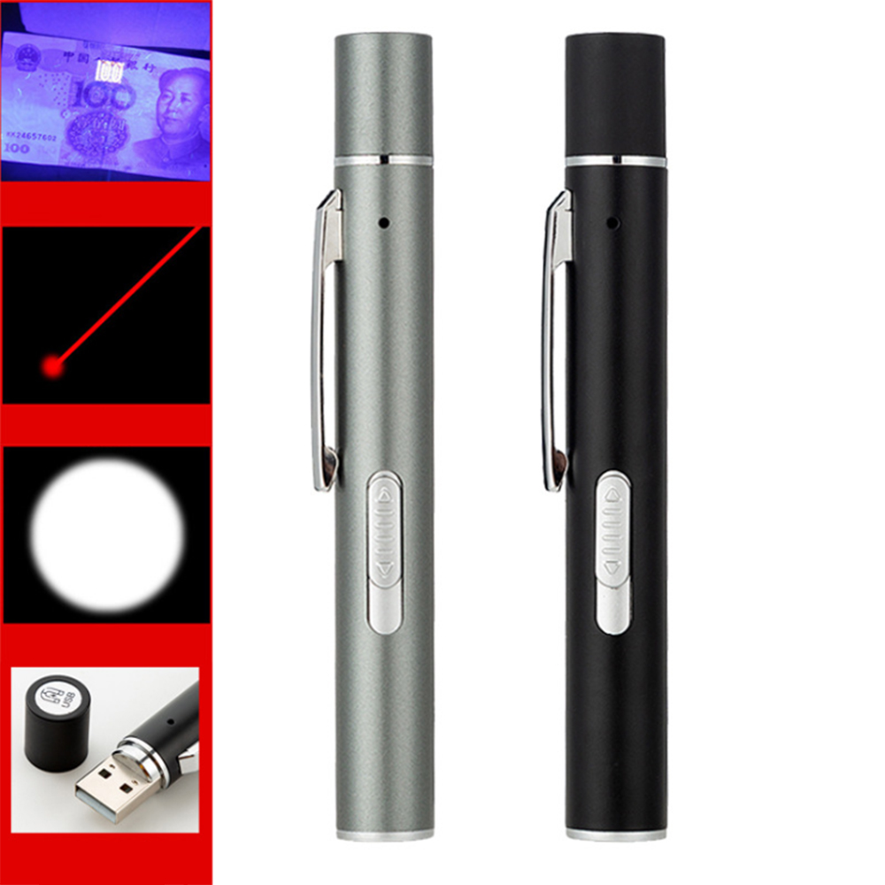 USB red laser pointer three-in-one flashlight magnetic tail cover white light illumination + laser infrared + UV violet