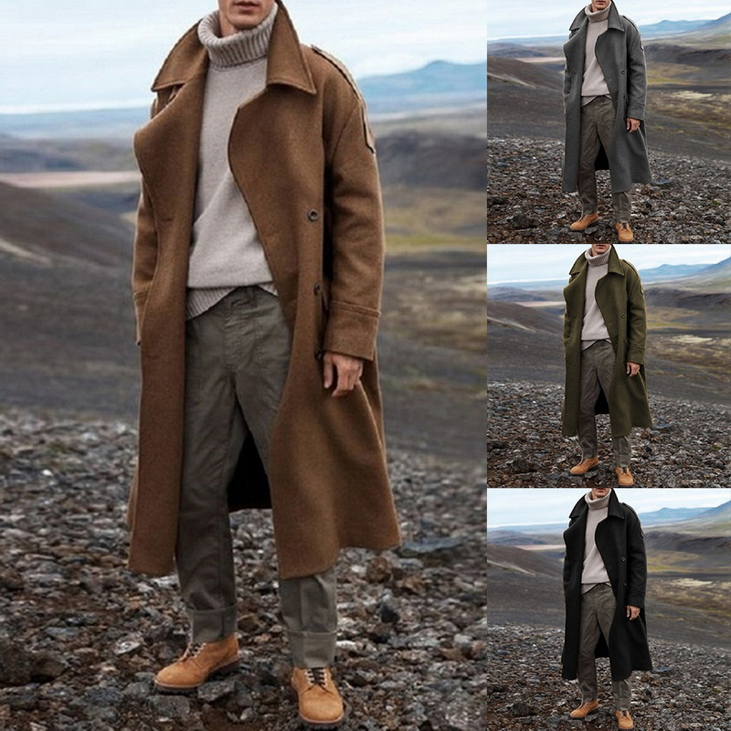 New Khaki Trench Coat Men Classic Autumn Winter Long Jacket Men Casual Loose Long Coat Trench Male Overcoat Streetwear Coat