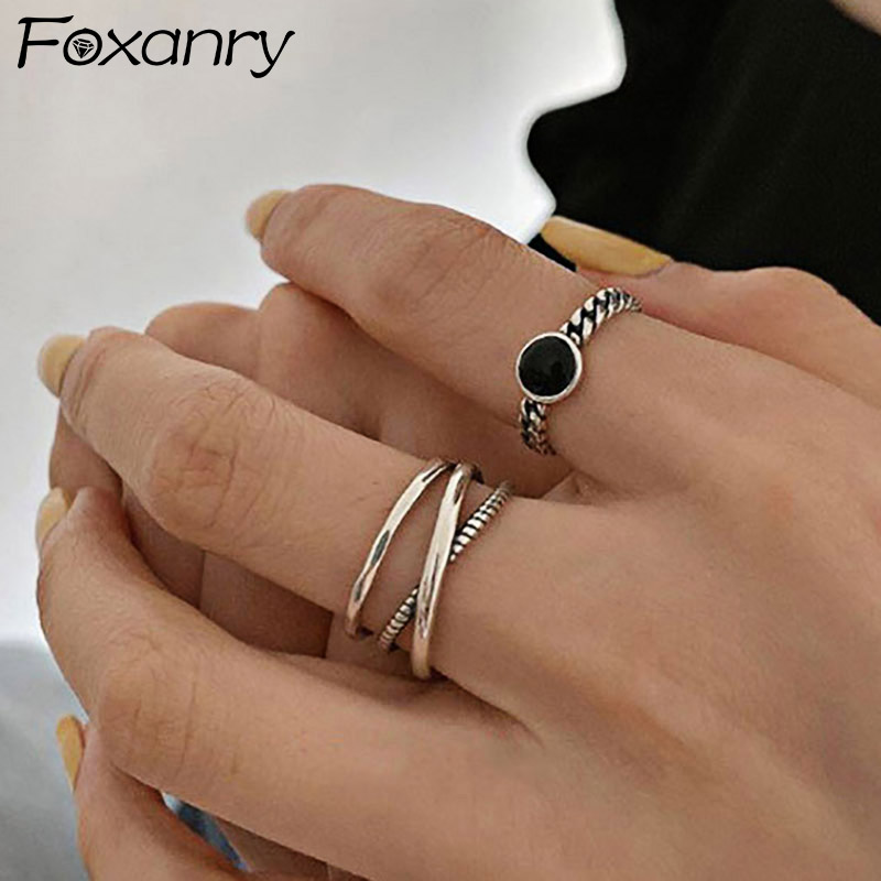 Foxanry Minimalist 925 Sterling Silver Chain Rings for Women Couples New Fashion Vintage Handmade Geometric Party Jewelry Gifts