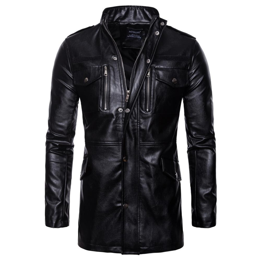 Men's Luxury Trench Leather Coat Mens Single Breasted Business Casual Faux Leather Jacket Male Black Long PU Coat Big Size M-5XL
