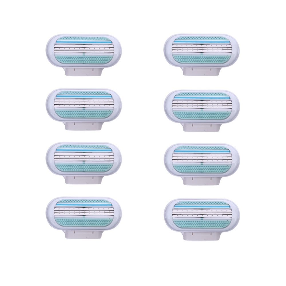 8pcs/lot Beauty Female Safety Razor Blade Shaving For Women 3 Layer Blades Shaver Razor Blades Replacement Head