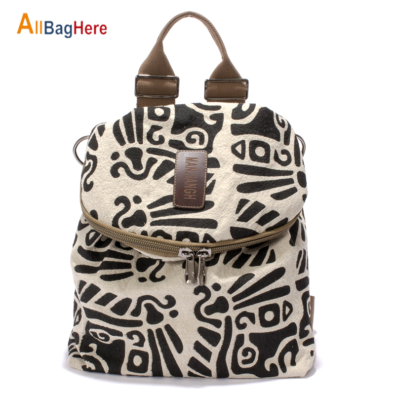 Women's Backpack Fashion Soft Casual Beige Printing Shoulder Bags Quality Cotton Linen Crossbody Travel Shopping Urban Backpacks