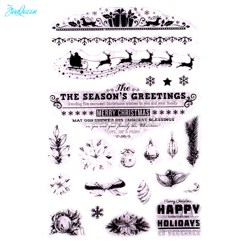 22 CHRISTMAS CLEAR STAMPS-XMAS DEERS//REINDEER TRANSPARENT//WORDS-SLEIGH//PRESENTS