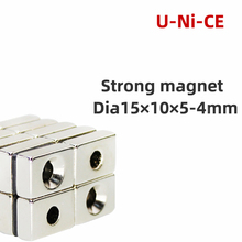 5 pcs of NdFeB fix magnet 15x10x5mm hole 4mm countersunk neodymium block permanent rare earth magnet 15*10*5-4mm