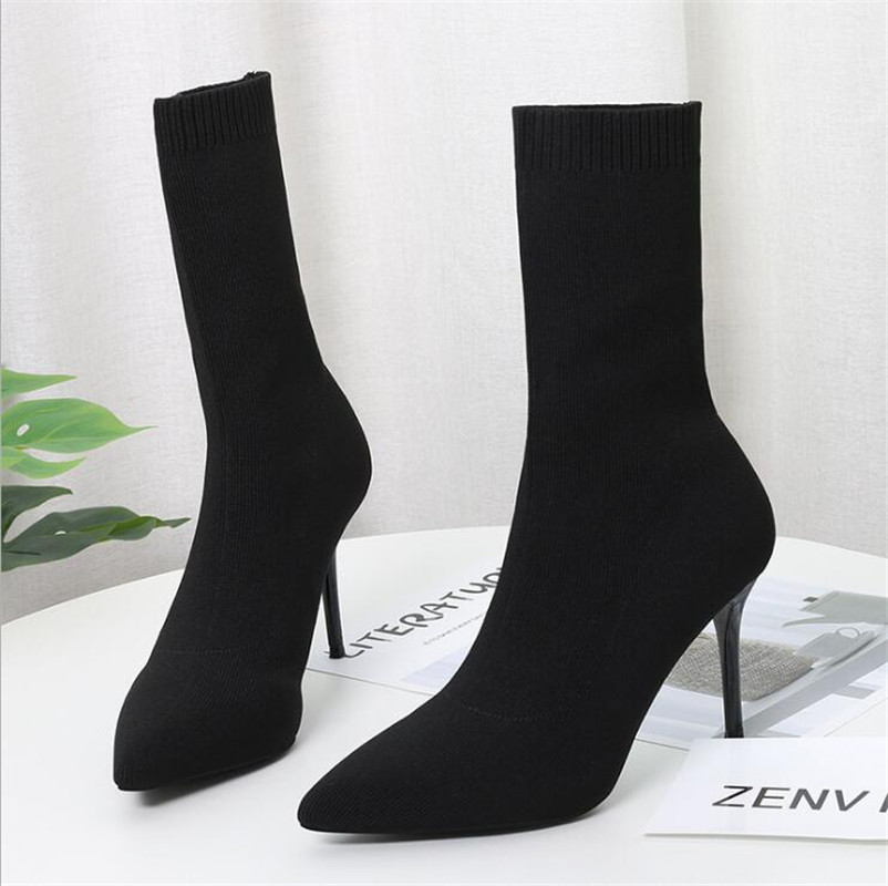Sock Boots Knitting Stretch Boots High Heels For Women Fashion Shoes 2019 Spring Autumn Ankle Boots Booties Female