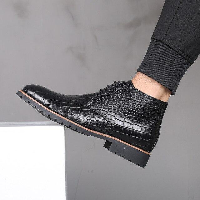 Mens Boots Leather Men Big Size38 48 Lace Up Cowboy Boots Man Shoes Male Water Proof Boots New Platform Shoes Botines Hombre