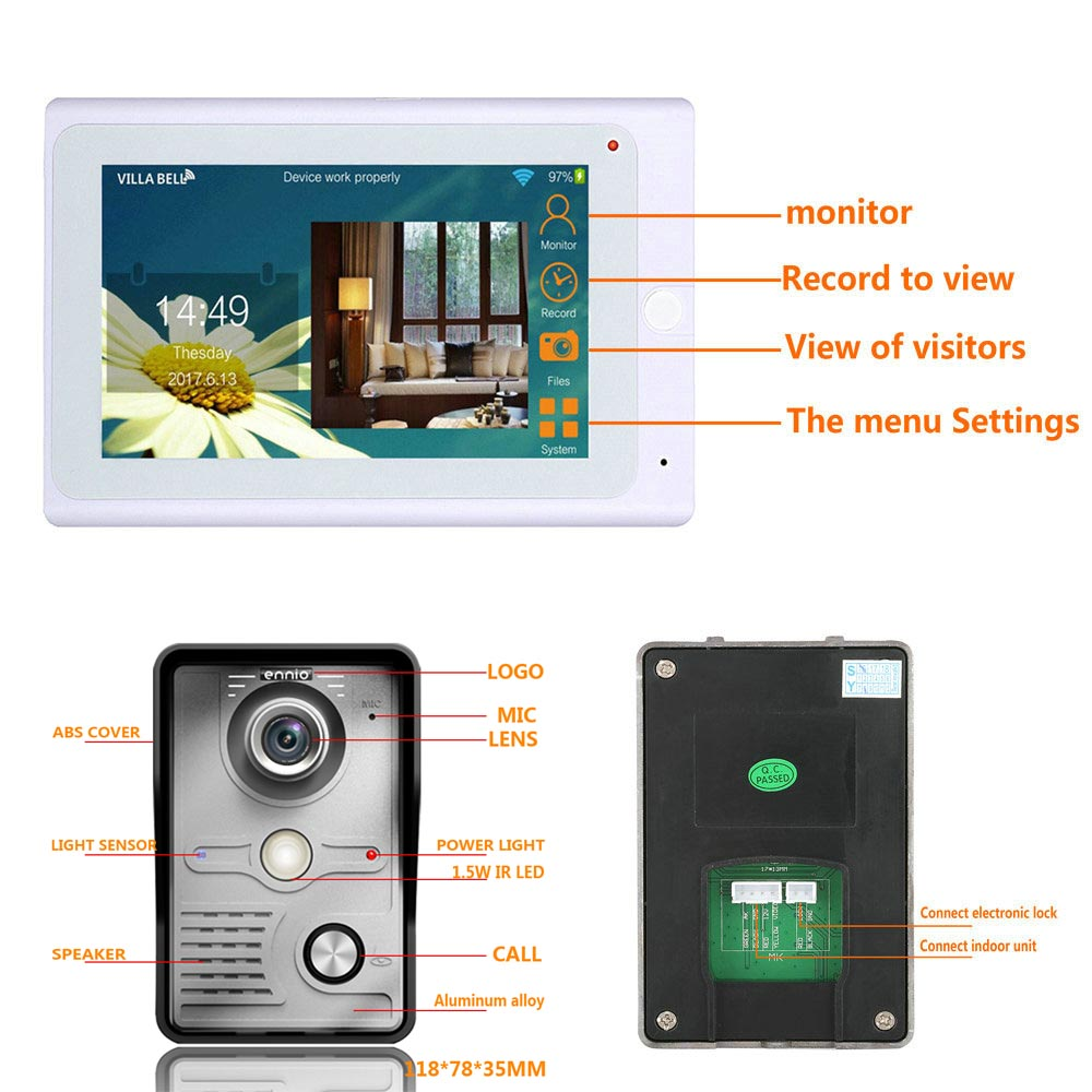 7inch Wireless/Wired Wifi IP Video Door Phone Doorbell Intercom Entry System with IR CUT HD 1000TVL Wired Camera Night Vision - 3