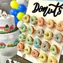 Donut Donut akrilik standı ahşap Donut duvar ekranı için doğum günü düğün olay parti masa süsü çörek parti malzemeleri