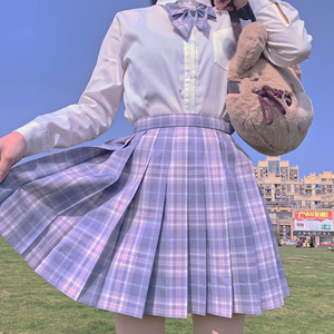 Japanese School Uniform Suit Plaid Pleated Skirt Student Cosplay Anime Mini Grid Skirt Jk Uniforms Sailor Suit Short Skirts Girl