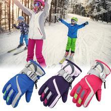 Детские зимние лыжные перчатки, водонепроницаемые теплые варежки, трехслойные ветрозащитные противоскользящие перчатки для улицы, катания на лыжах, велоспорта