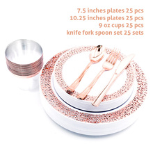 Choisissez denvoyer depuis lEspagne ou la Belgique,Nicro 10/20/50 pièces/ensemble or Rose tasses plaques en plastique fourchette couteaux cuillères jetable clair ensemble de vaisselle fournitures de fête # DPT19