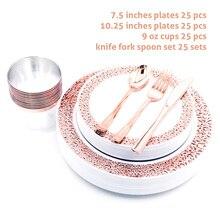 Nicro 25/50/150 قطعة/المجموعة أكواب الذهب الوردي أطباق بلاستيكية شوكة السكاكين ملاعق المتاح واضح أواني الطعام مجموعة لوازم الحفلات # DPT19