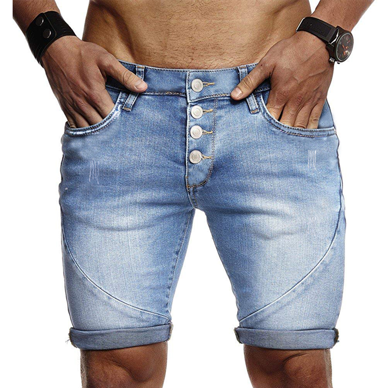 Men's Hole Denim Shorts Multi-button  Summer The New Fashion Casual Slim Fit Ripped Denim Shorts Male Brand