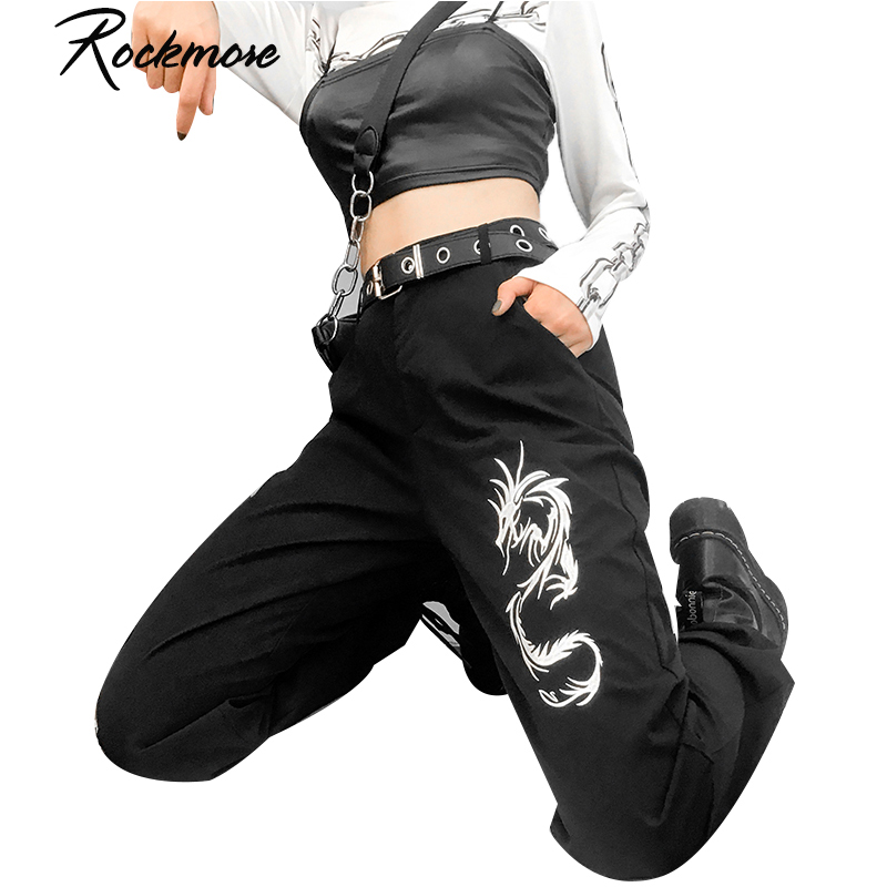 Rockmore Dragon Printed Cargo   Pants   Women High Waist Trousers Drawstring   Wide     Leg     Pants   Chinese Style Streetwear Winter Autumn