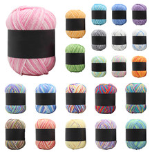 50g/Roll 3-Strand Gradient Color Baby Milk Cotton Yarn Worsted Soft Cotton Yarn Knitting Weaving For DIY Hand Knitting Supplies(China)