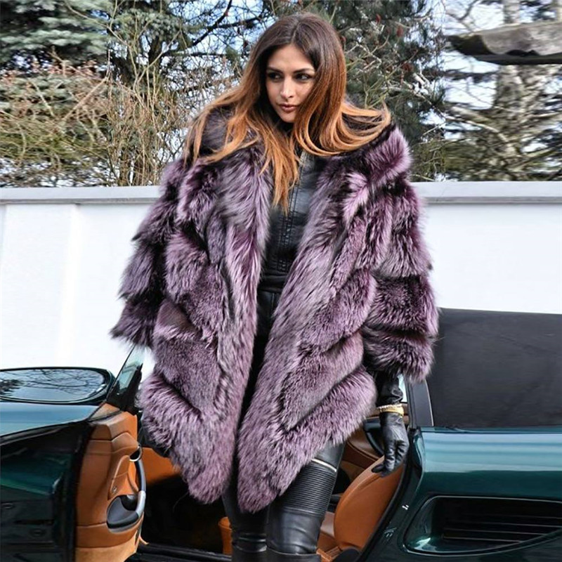 Natural Real Sliver Fox Fur Capes With Hood For Women Winter Genuine Fox Fur Jacket Thick Warm Fur Ponchos Outwear Plus Size