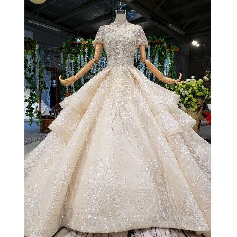 Bgw 2179ht Vintage Lace Wedding Dress Princess Bead Sequin High Neck Short Sleeves Luxury Wedding Gown Ruffle Vestido De Noiva Wedding Dresses Aliexpress