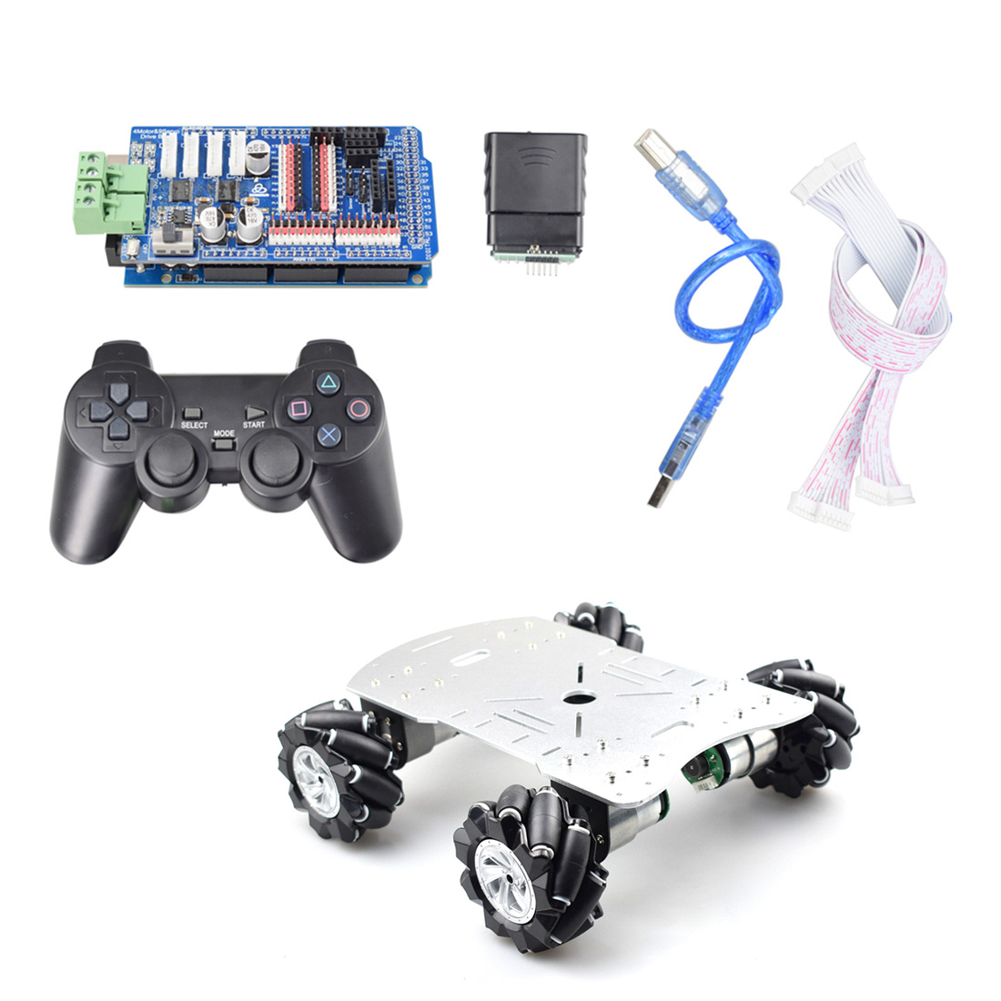 80mm Mecanum Metal Platform Omni-Directional Mecanum Wheel Robot Car With Arduino MEGA Electronic Control (Without Power Supply)