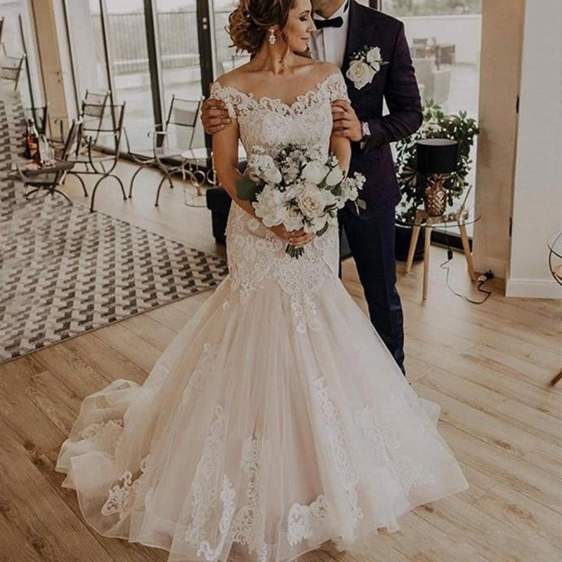 Off Shoulder Mermaid Wedding Dresses 2019 Lace Appliques Lace Up Back Plus Size Bridal Gowns Bride Dress Vestido De Noiva