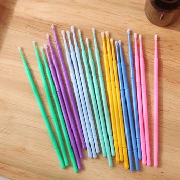 100pcs Disposable Micro Applicator Brushes Eyelash Extension Cotton Swab Eyelash Micro Brush Wands Makeup Tools Size M (Pink)
