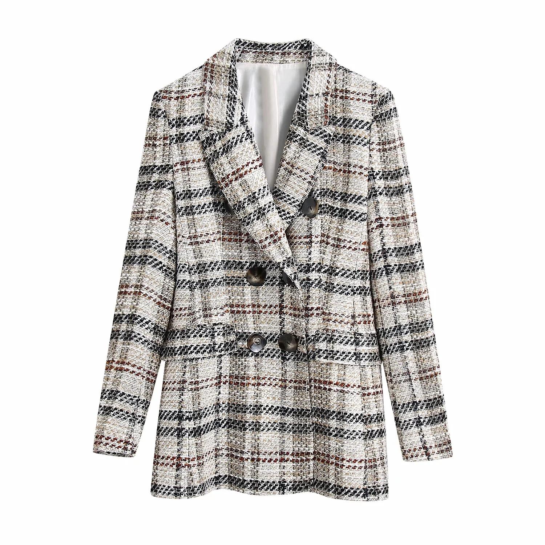 Chaqueta de Tweed con doble botonadura para mujer, ropa de oficina a la moda, Retro, a cuadros, Primavera, Otoño, 2021