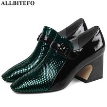 ALLBITEFO Two kinds of genuine leather high heel shoes women heels spring autumn high heels Belt buckle office ladies shoes