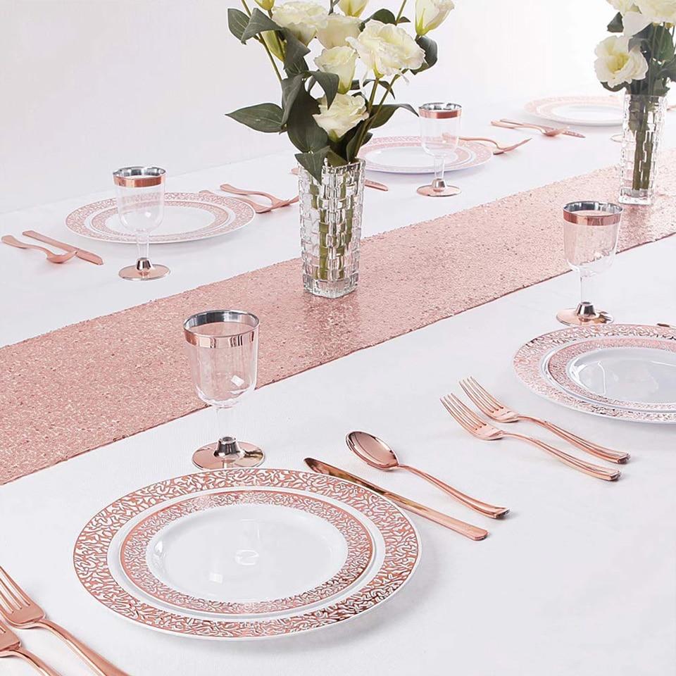 Nicrolandee 10/20/50 pces/conjunto copos de ouro rosa placas de plástico garfo facas colheres descartável claro louça conjunto fontes de festa 19