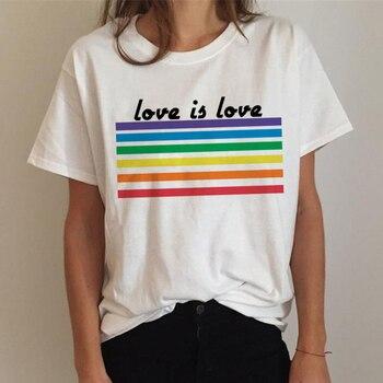 Женская футболка с надписью FIXSYS Lgbt, футболка с радугой, футболка в стиле Харадзюку Ullzang, Забавные футболки, 90s, топы из хлопка с принтом Love Is Love