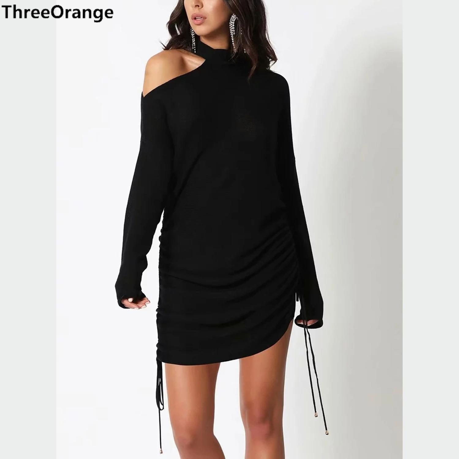 women <font><b>dress</b></font> black Drawstring slim waist off shoulder Chic lady <font><b>sexy</b></font> <font><b>hot</b></font> mini <font><b>dress</b></font> woman clothes image