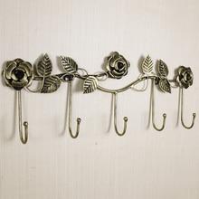 Europäischen stil eisen rose design dekorative wand haken wand montiert kleiderbügel lagerung rack schlüssel halter organizer hause decor