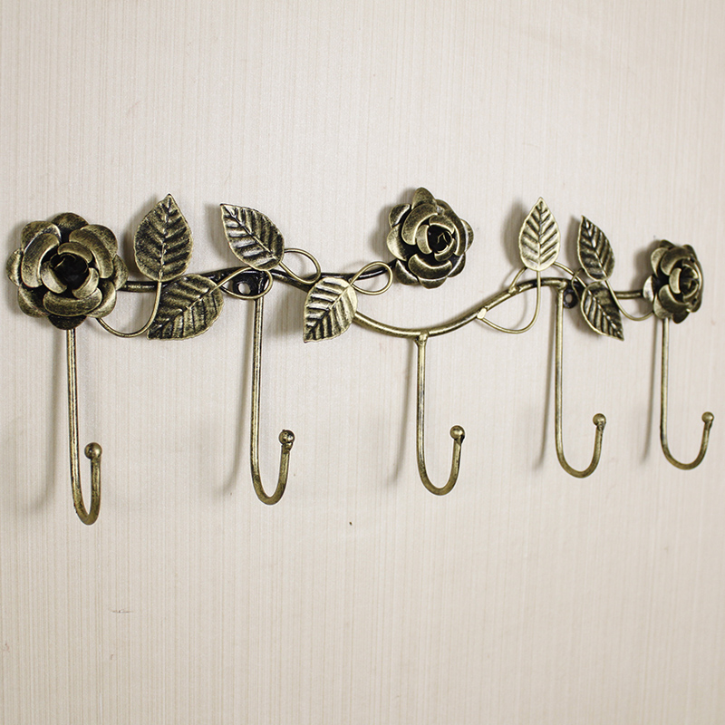 European-style Iron Rose Design Decorative Wall Hook Wall-mounted Coat Hanger Storage Rack Key Holder Organizer Home Decor