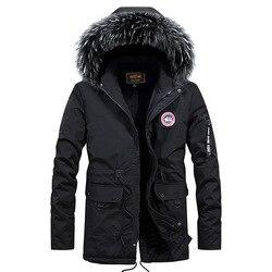 Осеннее и зимнее мужское бархатное хлопковое пальто средней длины с гусиным капюшоном, модное мужское повседневное толстое пальто большог...
