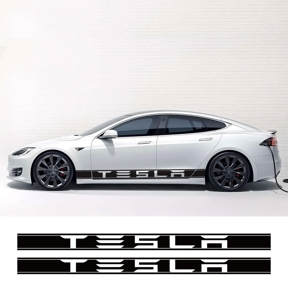 2 шт. Авто украшения тела обертывания для Tesla модель 3 S X P100D автомобильный боковой двери юбка в полоску наклейки виниловая пленка аксессуары