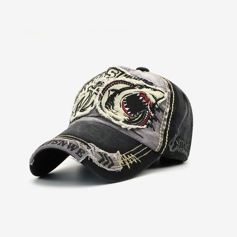 New Washed Baseball Cap Men & Women Trendy Shark Personality European and American Peaked Cap Spring and Autumn Sun Hat Beanie