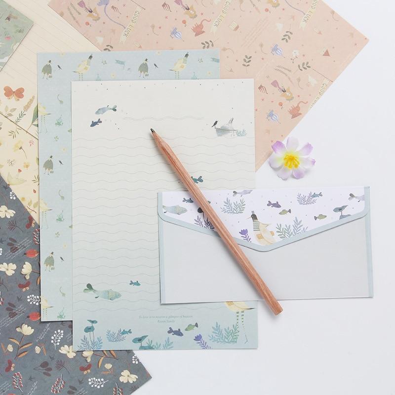 Creative A5 Letterhead Beautiful Flower Envelope Cartoon 3PCS Envelop 6pcs Writing Paper Sets Business Office School Stationery