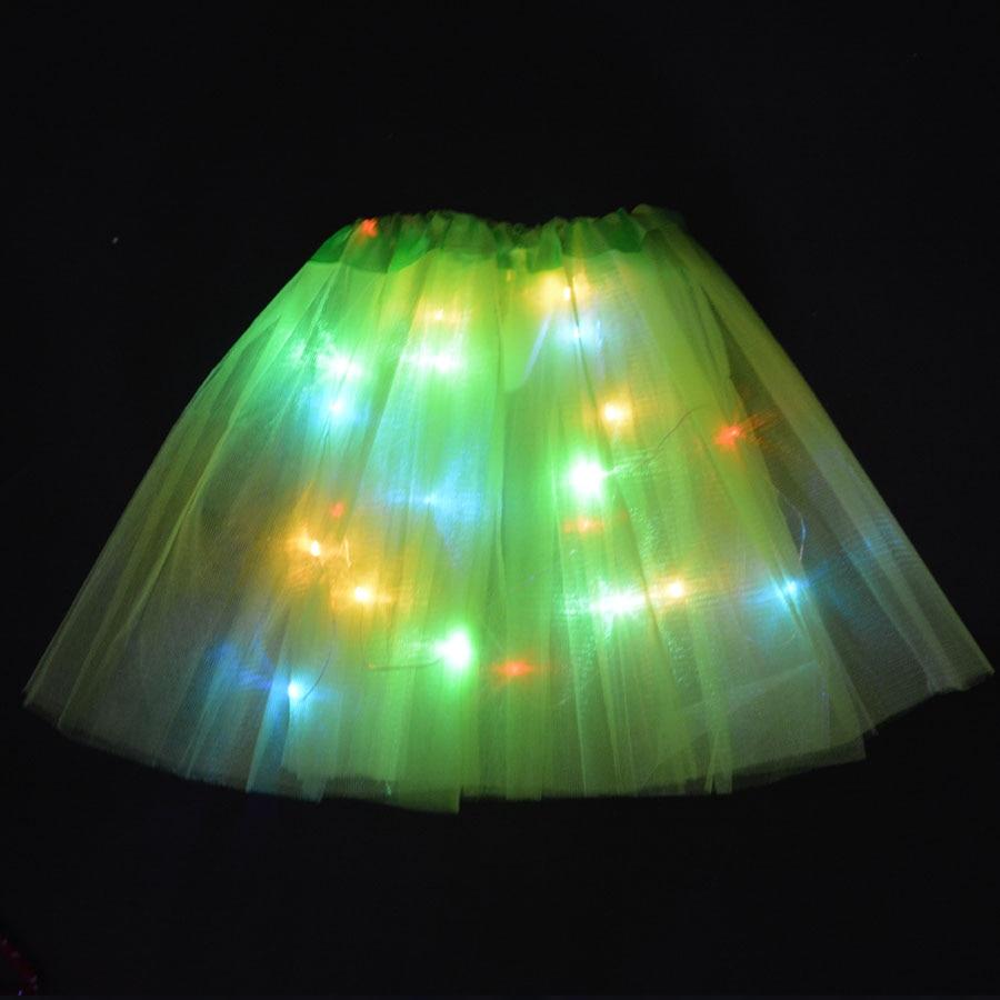 Kids Children LED Skirt Solid Color Neon Light Up Tutu Stage Dancing Halloween  Girls Skirts  Dance Wear Christmas Navidad