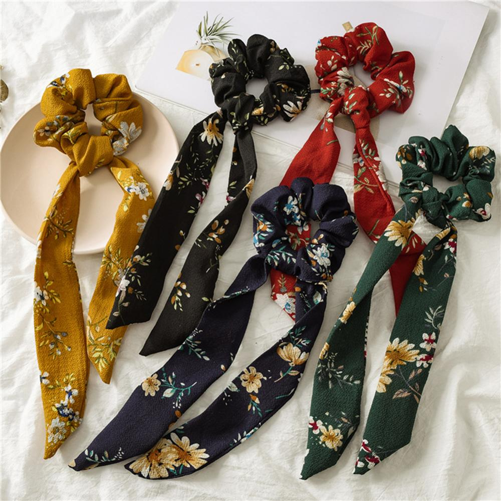 Elegant Women Floral Print Ponytail Scrunchies Long Ribbon Elastic Hair Bands Girls Polka Dot Knotted Hair Rope Hair Accessories