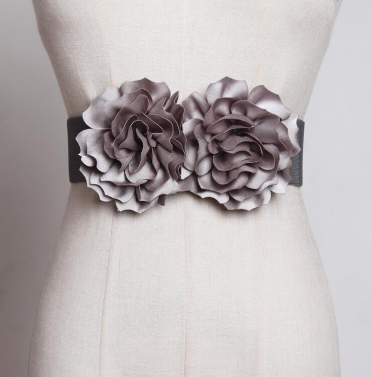 Women's Runway Fashion Elastic Flower Cummerbunds Female Dress Coat Corsets Waistband Belts Decoration Wide Belt R1794