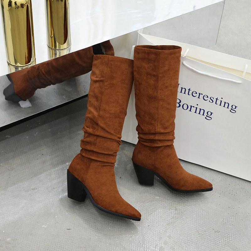 Compre YANSHENGXIN Zapatos Botas De Mujer Arrugas Piel Genuina Tacón Alto Botas De Mujer Otoño Invierno Zapatos De Punta Puntiaguda Botines De Mujer A