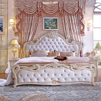 European Style Bed French Princess Bed 1.8 M Double Bed Solid Wood Genuine Leather Bed Simple Apartment Hotel Bed Wholesale
