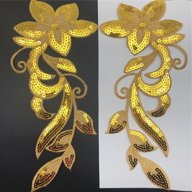 1 пара 29*12 см Блестки цветок патч с клеем, сценическое представление одежда аксессуары украшения DIY Материал серебро и золото