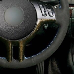 Image 4 - DIY יד תפור שחור זמש עור רכב הגה כיסוי עבור BMW X5 E39 E46 325i E53
