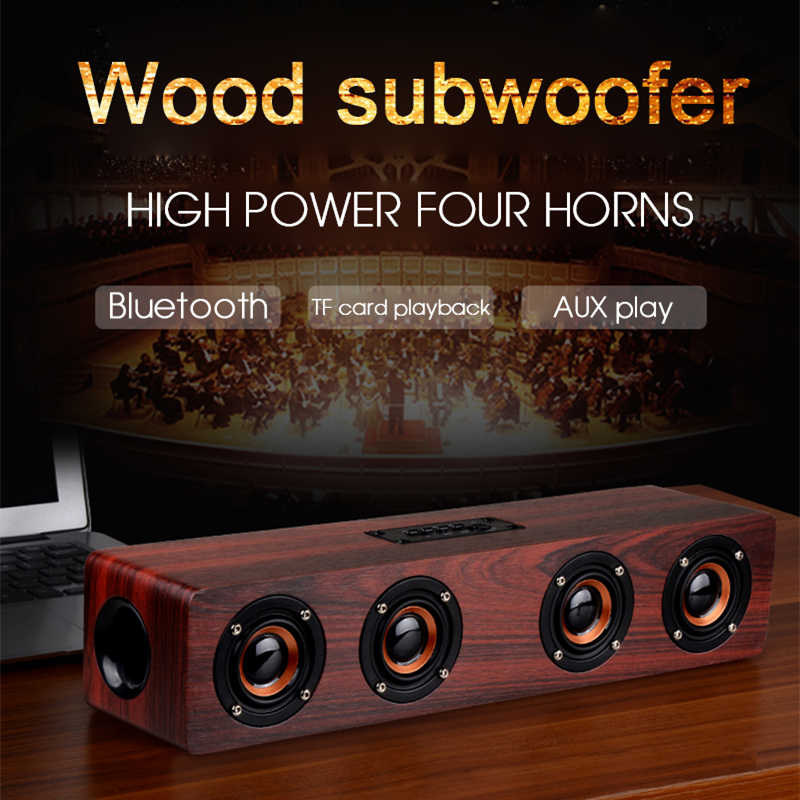 Kayu Speaker Bass 20 Nirkabel Bluetooth Speaker FM Hi Fi TV Soundbar Subwoofer USB AUX MP3 Pemutar Musik Home Theater BOOMBOX