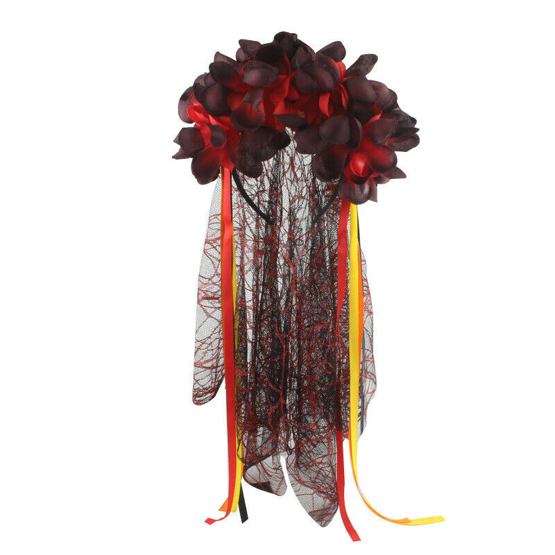 Day of the Dead Headband Headdress Bride Black Veil Roses Flowers Halloween Hat