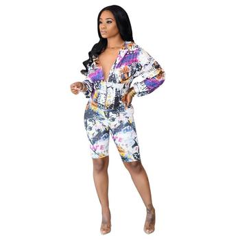 Adogirl Women Casual Summer Tracksuits Long Sleeve Hooded Tops And Short Pants Print Two Pieces Set Fashion Zip Streetwear wuhe women fashion o neck short sleeve long swing top and slim pants summer casual two pieces sets playsuits combinaison femme