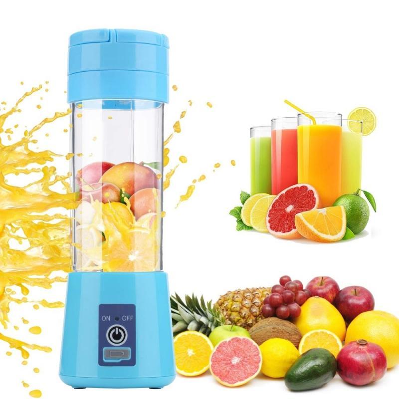 4 Colors Vegetable Fruit Juice Citrus Smoothie Squeezer 380ml USB Recharge 6 Blades Portable Blender