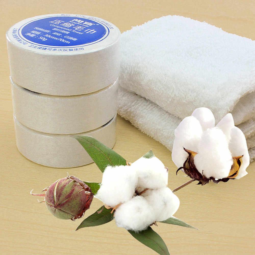 Toalla comprimida mágica de viaje al aire libre paño de algodón suave expandible simplemente añadir agua blanca conveniente para las toallas de viaje 30*70CM